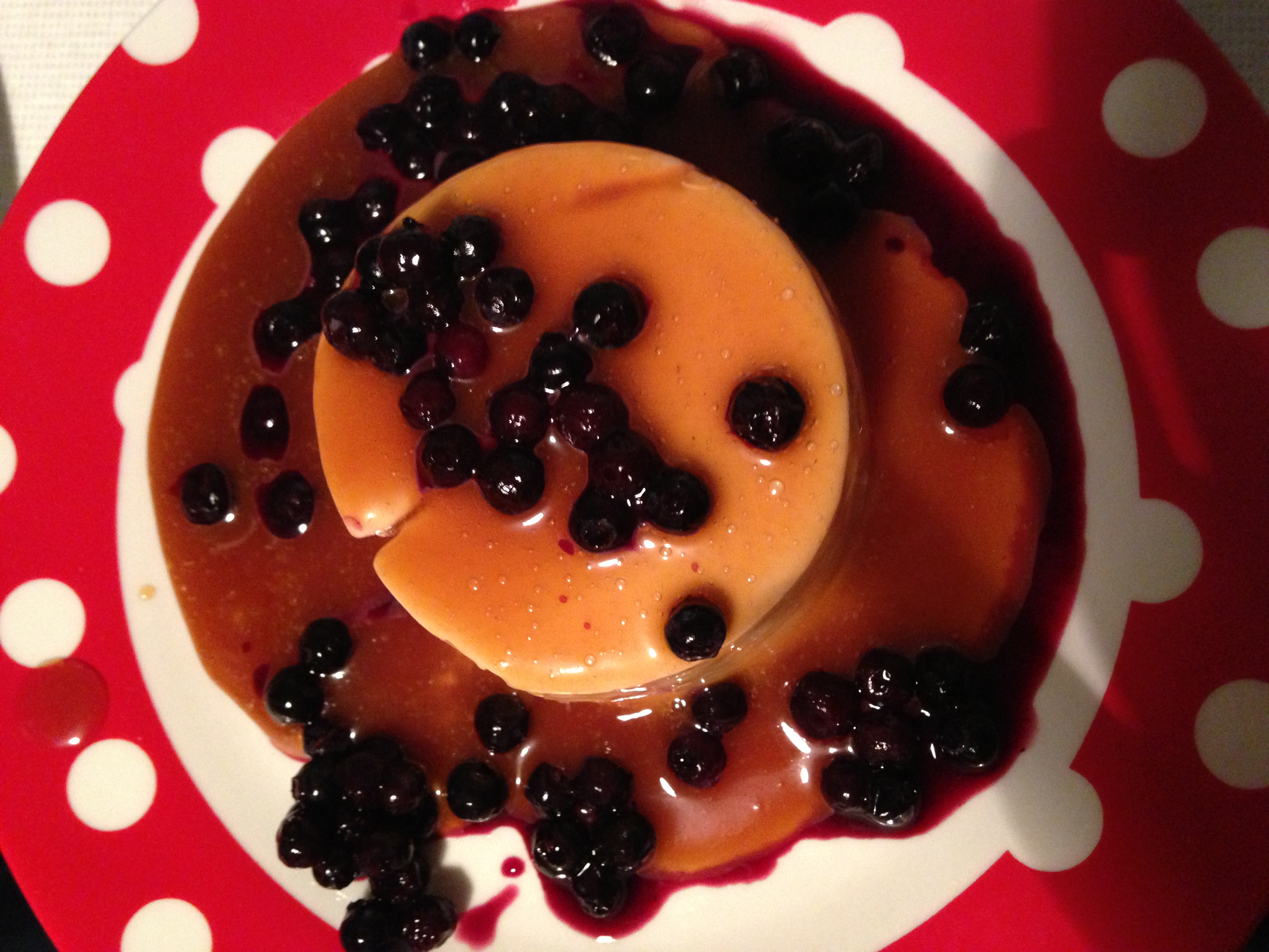 vegan Panna Cotta with Caramel Sauce & Blueberries or Strawberry Sauce ...
