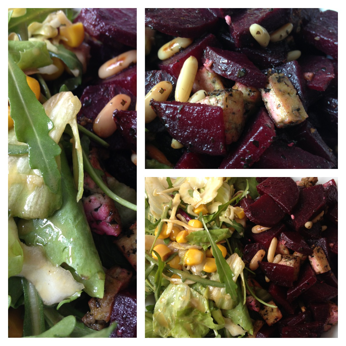 salad with roasted beet, basil tofu, pine nuts and a mustard-dressing ...