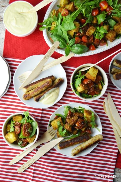 vegetarisch grillen mit tomaten-brot-salat & honig-senf-sauce (vegetarisch  werbung) ❤