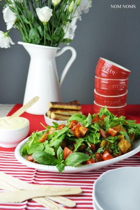 vegetarisch grillen tomaten brot salat honig senf sauce vegetarisch nom noms treats of life. Black Bedroom Furniture Sets. Home Design Ideas