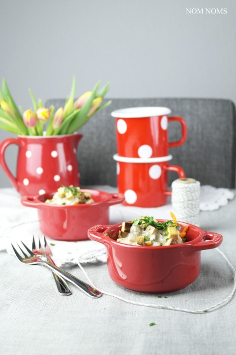 gemüse-spaghetti mit veganer carbonara   vegetable spaghetti with vegan carbonara ❤ blogevent re•create